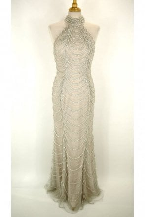 Silver Mia halterneck bead detail low back lace dress