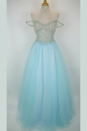 Sky blue 32399 embellished bodice full skirt gown