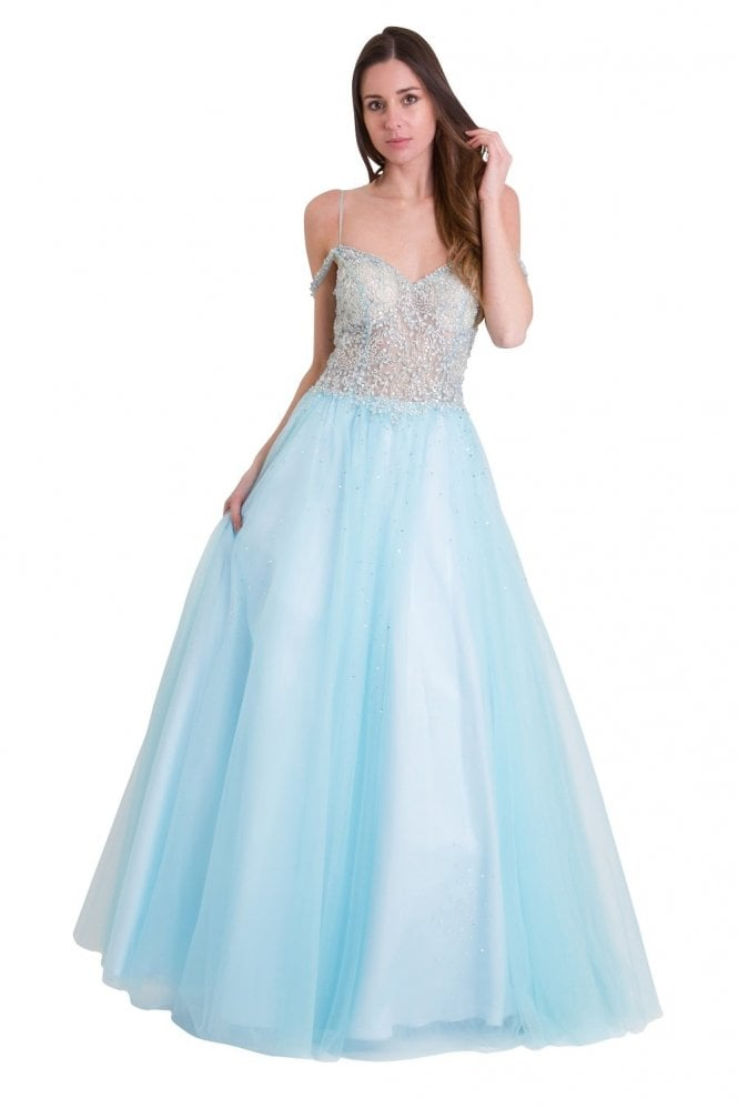 Jessica Stuart Sky blue 32399 embellished bodice full skirt gown