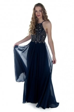 Sparkling navy 9107 jewelled top dress