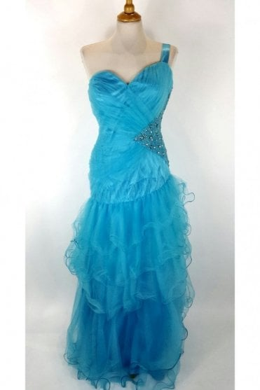 Turquoise Netted One Shoulder Gown MH2015