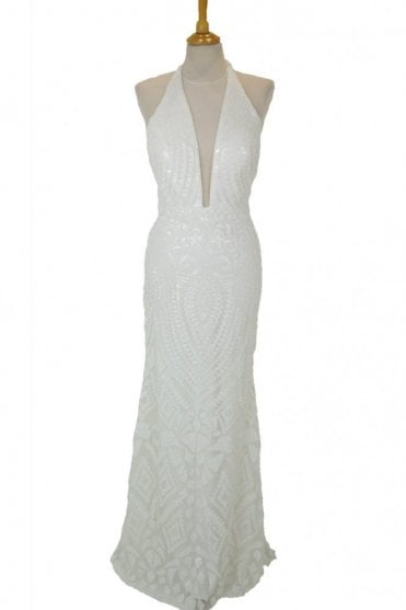 White 32395 sequin detailed deep V halter neck dress