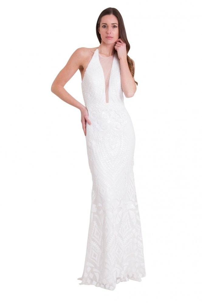 Jessica Stuart White 32395 sequin detailed deep V halter neck dress
