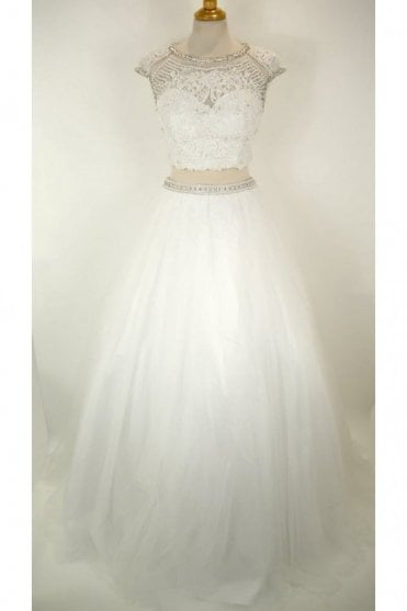 White 3263 Beaded Bodice Two Piece Gown