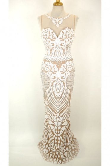 White and nude 32394 slim fit sparkling dress