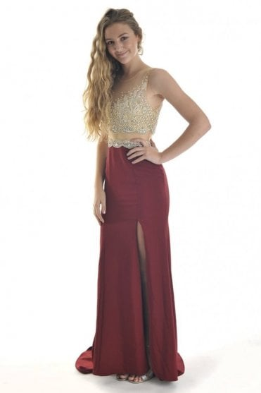 Wine and Nude 10800 Embellished Bodice Split Leg