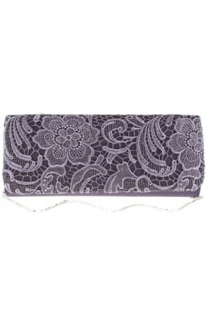 2195 Lace Embroidered Bag Dark Blue (Purple)