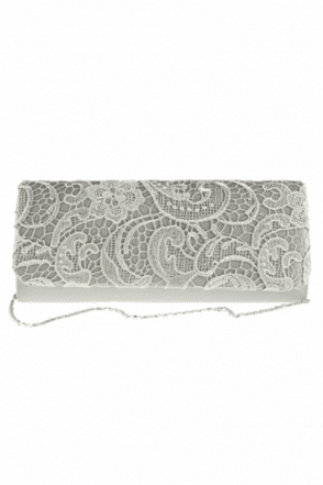 2195 Lace Embroidered Bag Silver