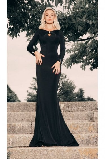 1805 long sleeve fitted cutout detail ballgown