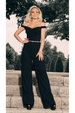 Off the shoulder jumpsuit with belt detail