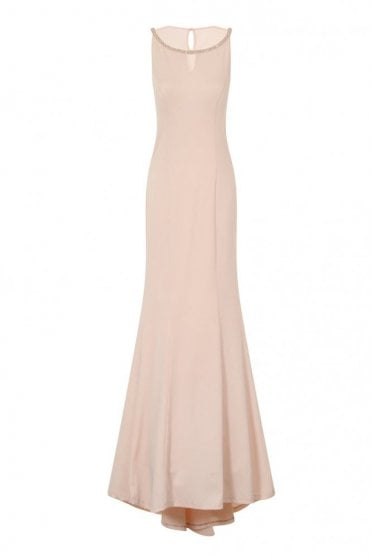 1938D2B Nude Sheer Maxi Dress Jewel Neckline