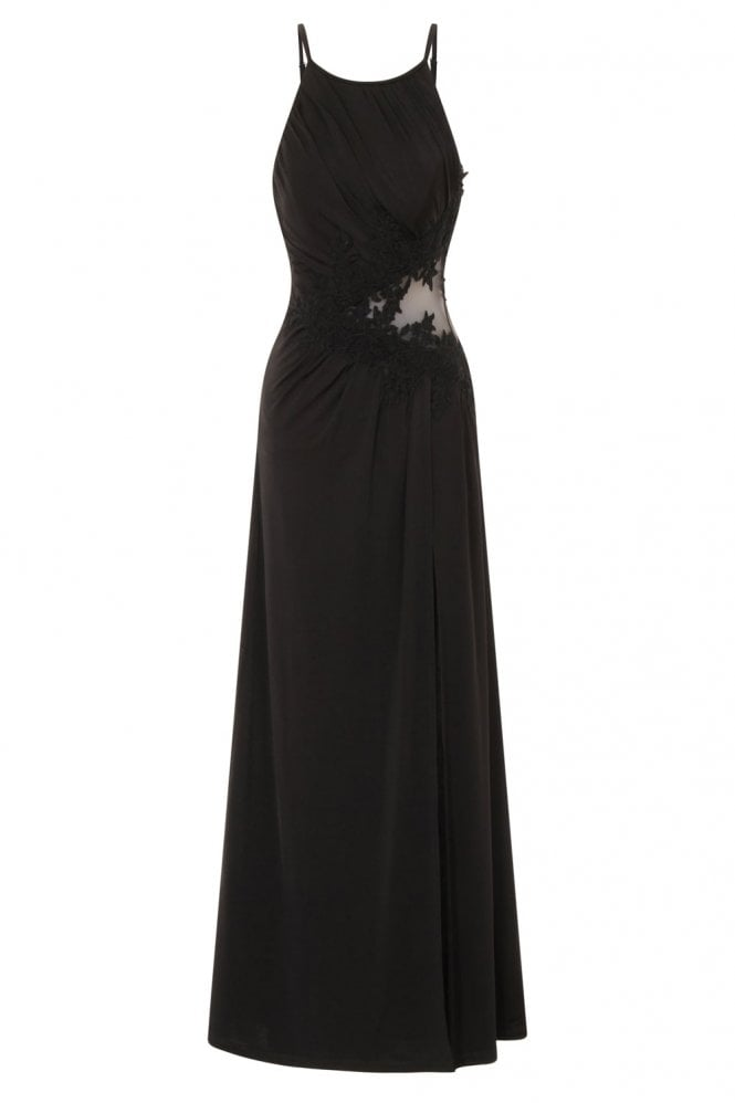 Little Mistress L5709D2B Black Lace Applique Maxi Dress