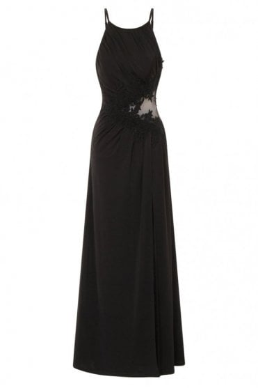 L5709D2B Black Lace Applique Maxi Dress