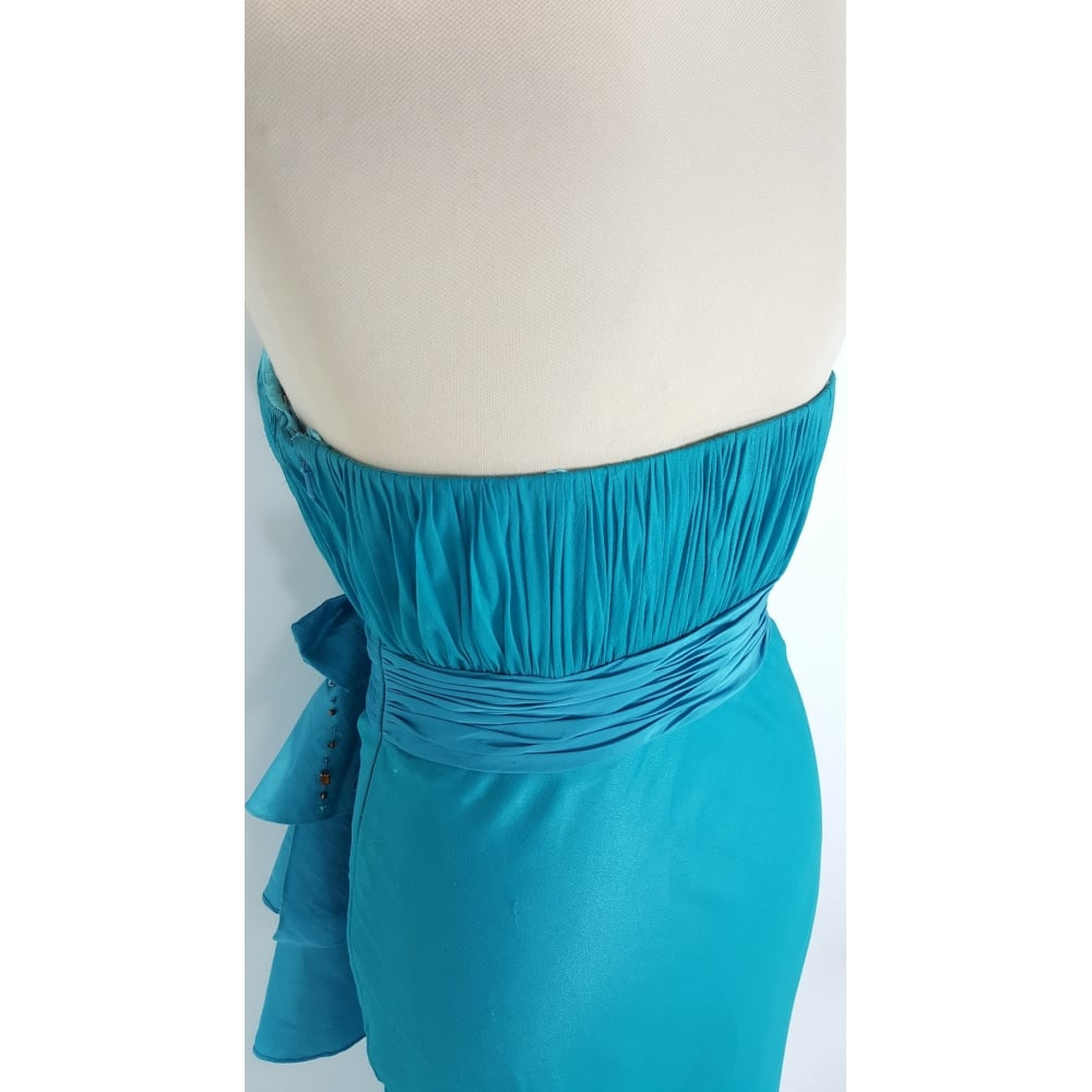 Lolita Karma Orchid Strapless Bow detail dress in Turquoise size 10