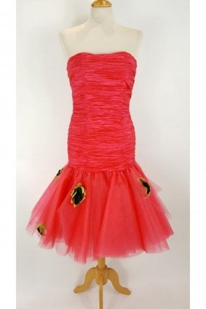Hot Pink LP252 Strapless Cocktail Tulle Prom Dress