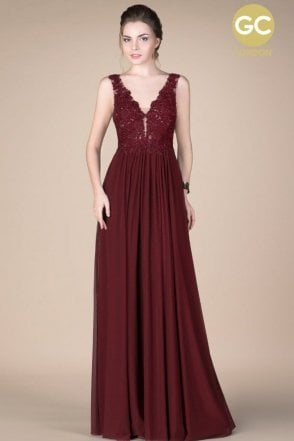 Maroon Gino Cerruti 2601F beaded lace bodice jersey gown