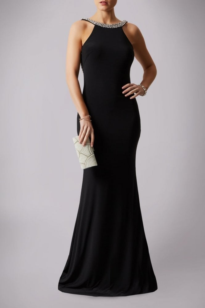 Mascara Black 181193 Drop Back Pearl Floor Length Gown