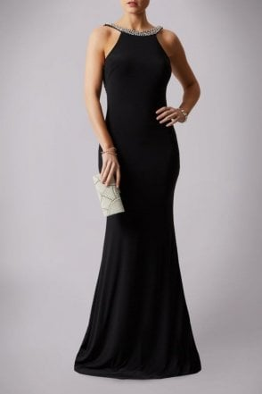 Black 181193 Drop Back Pearl Floor Length Gown