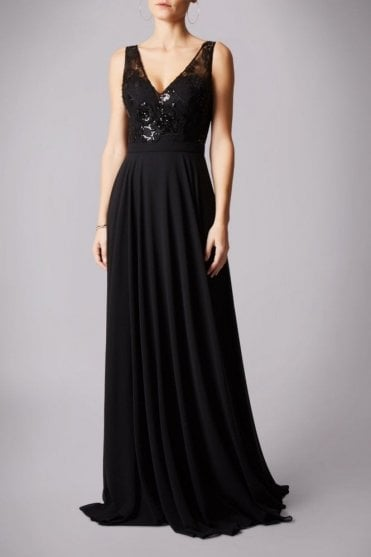 Black 181287 low back sequinned bodice dress