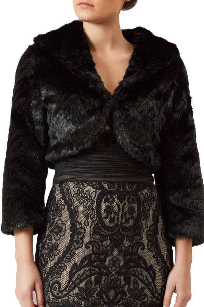 Mascara Black collared faux fur bolero FF044