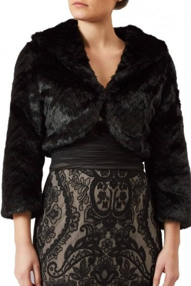 Black collared faux fur bolero FF044