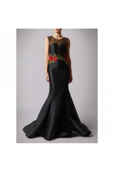 Black embriodered rose gown MC181192