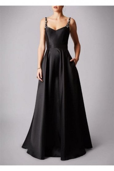 Black MC161072P satin sweetheart gown