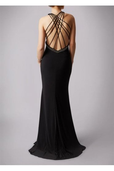 Black MC1612025 drop back strings long dress