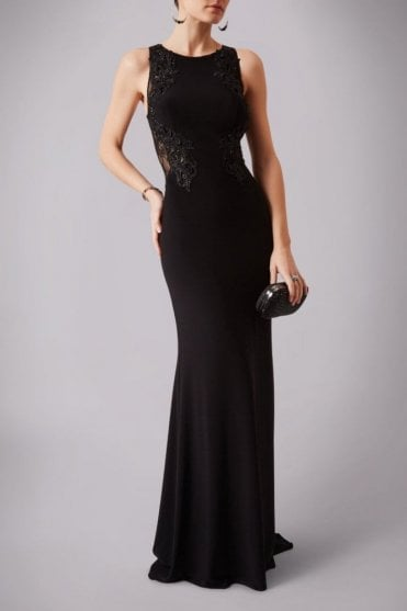 Black MC1612037G lace applique sheer back long gown