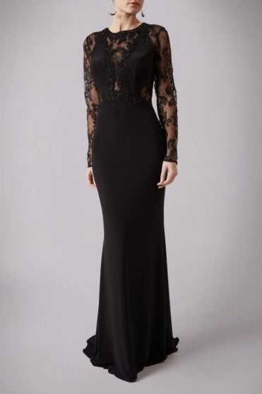 Black MC1612038G cut through lace sleeve dress