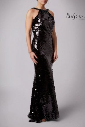 Black MC166125 Fishquins Sequinned High neck dress