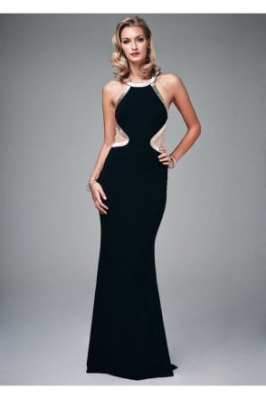 Black MC181068G Beaded Low Back Cut Out Gown
