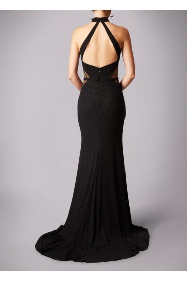 Black MC181266P net sparkle low back dress