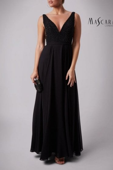 Black MC181286BM side vent pearls dress