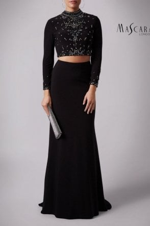 Black MC181350 Long sleeve embellished 2 piece set