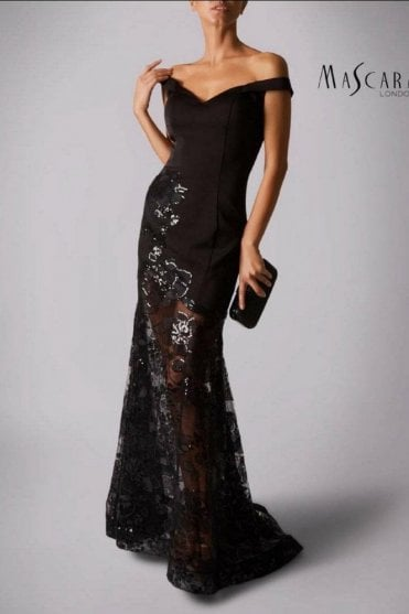 Black MC181400 off the shoulder lace skirt dress