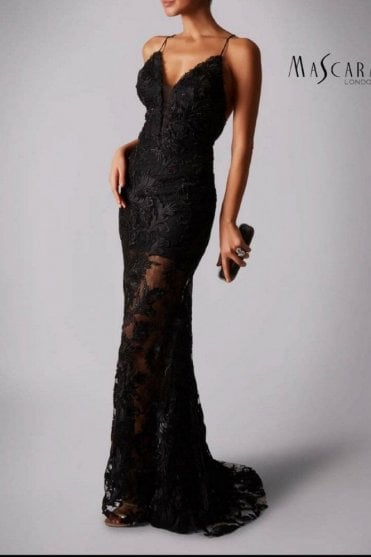 Black MC181421 lace cross back strap dress