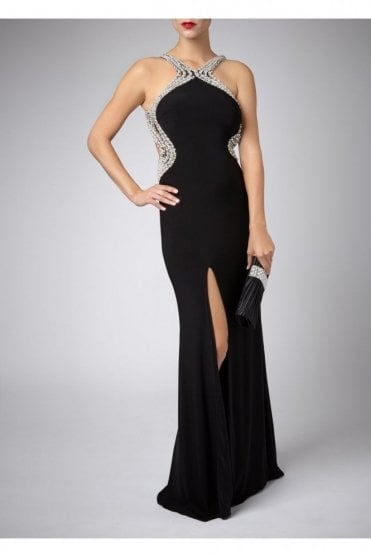Black Pearl Drop Back Couture Gown 185146