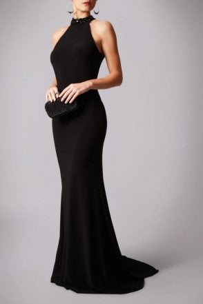 Black teardrop back jersey gown MC181206P