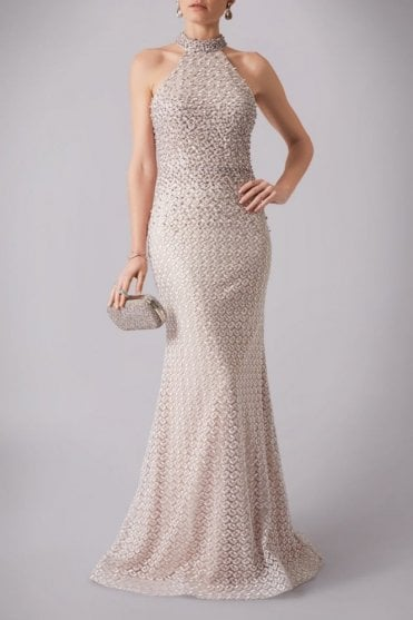 Champagne MC181237B  pearl lace halterneck wedding dress