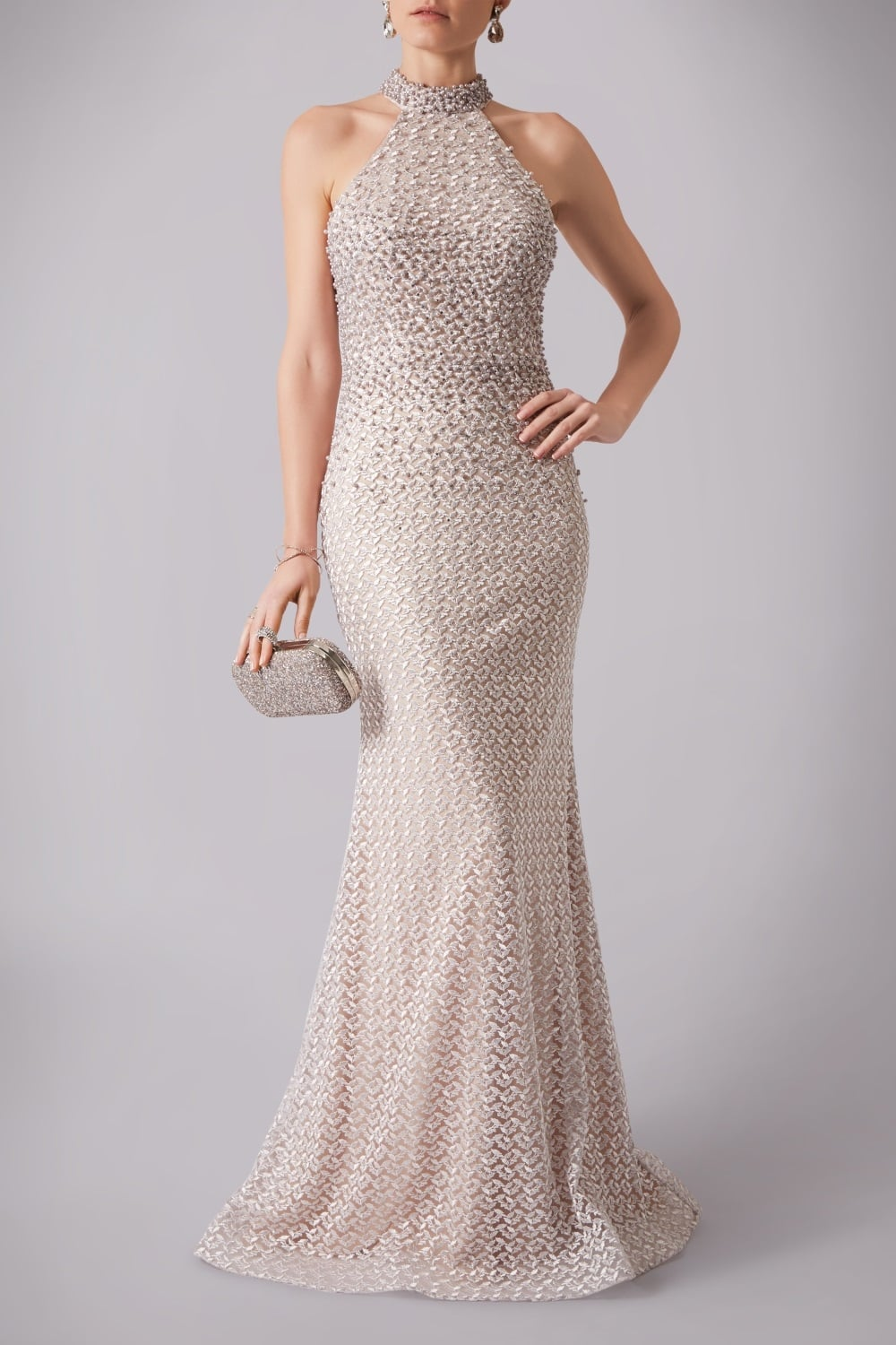 Mascara wedding dress in champagne halterneck pearl effect for Lace wedding dress with pearls