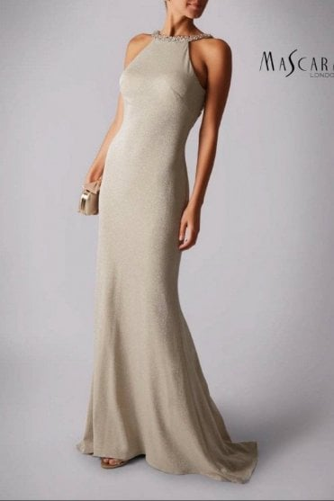 Champagne MC186041 scoop back glitter dress