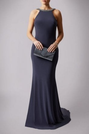 Charcoal 181193 Drop Back Pearl Floor Length Gown