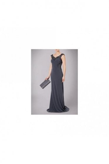 Charcoal Jersey Gown with Lace Back MC181126