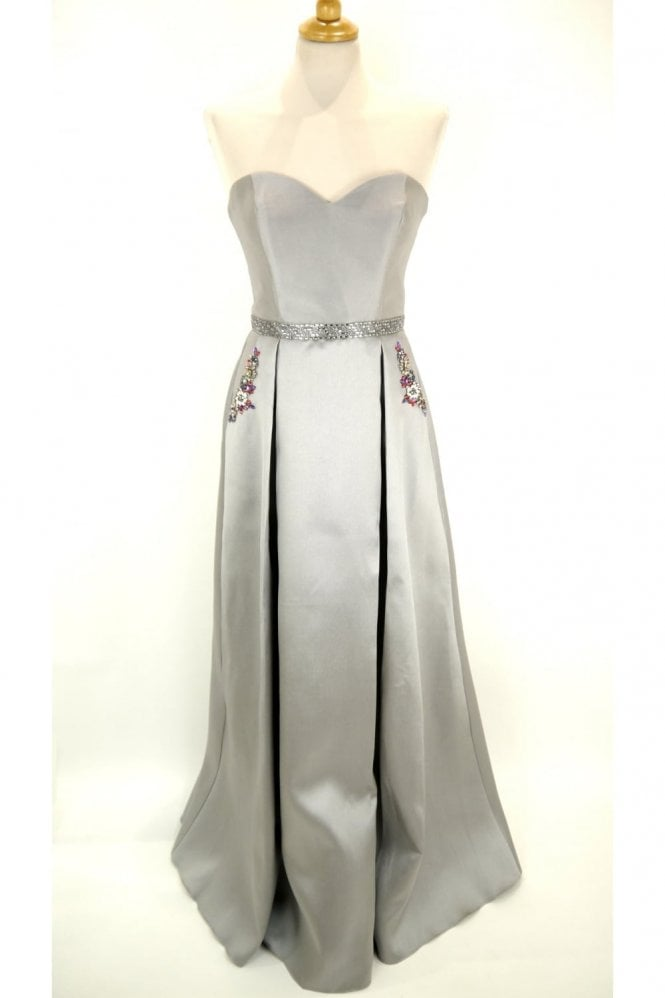 Charcoal MC161075P satin sweetheart gown