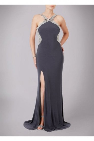 Charcoal Pearl Drop Back Couture Gown 185146