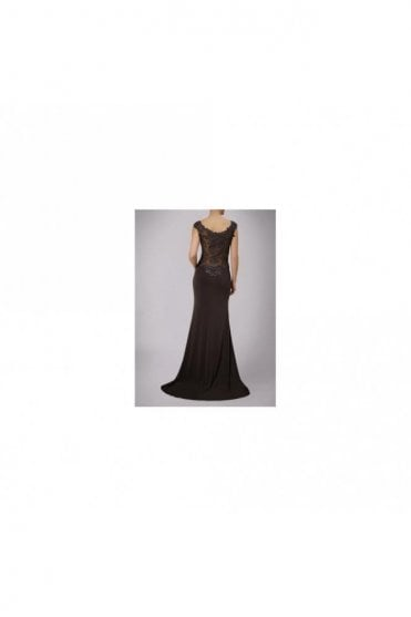 Chocolate Jersey Gown with Lace Back MC181126