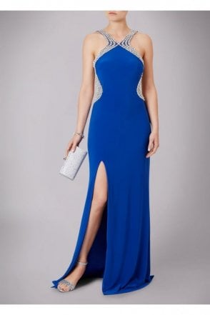 Cobalt Blue Pearl Drop Back Couture Gown 185146