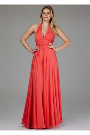 Coral Pleated Halter Long Gown with ruching 166066