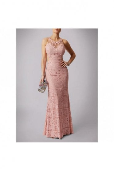 Dusty Rose 166104 lace applique open back dress